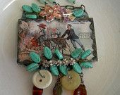 Soldered Glass Assemblage Necklace - New Home Sewing Machine