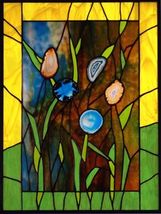 Monet's Garden Stained Glass Panel with Beautiful Agates. $395.00, via Etsy.