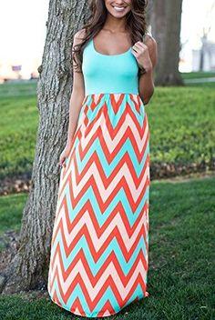 Kranda® Women Sleeveless Striped Long Full Length Summer Beach Dress(FBA)  List Price: $89.99 Sale Price: $27.99