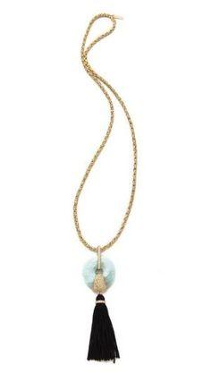 Rachel Zoe Amazonite Tassel Necklace, $325 #springjewelry by Nina Maltese