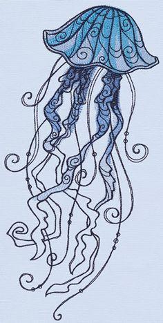 Ocean Blue - Jellyfish design (UT14191) from UrbanThreads.com