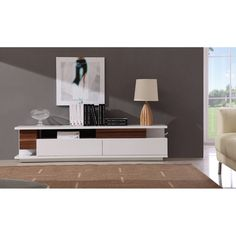Shop for Doppio Modern TV Stands at SoBe: Your Premier South Florida Source for Contemporary TV Stands & Modern Furniture. White Sofa Table, White Sofas, Sofa Tables, Contemporary Tv Stands, Contemporary Furniture, Contemporary Design, Tv Stand With Drawers, Large Drawers, Modern Tv Units