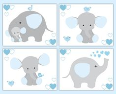 Blue Grey Gray Elephant Nursery Baby Boy Wall Art Prints Jungle Safari Animals #decampstudios