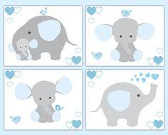 Blue Grey Gray Elephant Nursery Baby Boy Wall Art Prints Jungle Safari Animals #decampstudios
