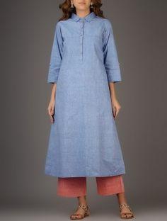 Blue Collared Khadi Cotton Kurta