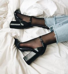 Black Suede Block Heels Almond Toe Platform Ankle Strap Pumps for Night club, Dancing club, Music festival, Big day, Hanging out Dr Shoes, Sock Shoes, Cute Shoes, Me Too Shoes, Shoes Heels, Footwear Shoes, Heels With Socks, Bow Sandals, Shoes Sneakers
