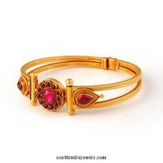 Gold kemp ruby bangle from Bhima Jewellers The Bangles, Ruby Bangles, Silver Bracelets, Bangle Bracelets, Diamond Necklace Set, Diamond Bangle, Antique Necklace, Antique Jewelry, Ruby Jewelry