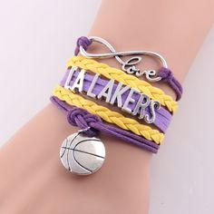 Little Minglou Infinity Love LA Lakers bracelet basketball charm leather wrap men bracelets & bangles for women jewelry