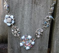 Statement Necklace.  Upcycled Jewelry made from repurposed recycled vintage brooches and bracelets.  Lark- A sparkling work of art made of by GrandmasSpecialPants, $135.00