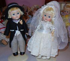 VINTAGE VOGUE GINNY DOLL BRIDE GROOM SET PL TRANSITIONAL EYES TAGGED DRESS SHOES