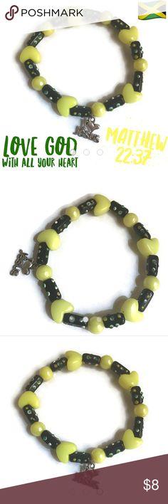 "Love the Lord Your God, Jamaic ""Jesus replied: "" 'Love the Lord your God with all your heart and with all your soul and with all your mind.'"" Matthew 22:37  Jamaican colors  Size: 6 3/4"" (16.5cm)  Materials: plastic beads, glass beads, metal charm (www.biblejourneymovement.com) Jewelry Bracelets"