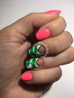 Neon Floral Nails