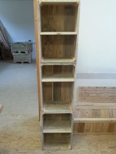 Vertical Storage Unit Consisting Of 3 Crates All Made Using Reclaimed  Pallet Wood Lats