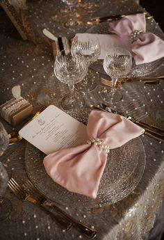 lElegant Wedding Tablescape ♥ Pink Bow Tie Napkins, Lace and Pearl Tablecloth, and Pearl Napkin Rings Wedding Centerpiece