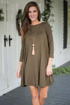 I Chic Therefore I Am Dress, Olive
