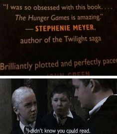 Bahaha win for Draco! 20 points to Slytherin for that!>>> apparently Tom Felton forgot his line and improvised... A+ acting