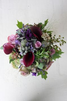 The Flower Magician: Deep Purple Wedding Bouquet with Autumnal Foliages & Berries