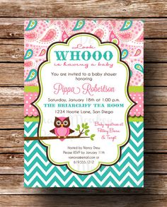 This is the one! :) Owl Baby Shower Invitation  Baby Girl  by MermaidMonkeyDesigns, $13.50