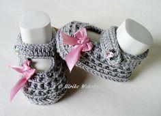 Strick- & Häkelschuhe - Babyschuhe Ballerinas  - ein Designerstück von strickliene bei DaWanda
