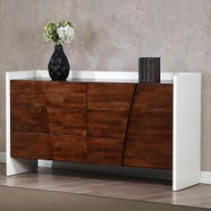 The Venus six-drawer dresser is sure to add style to your bedroom with its beautiful autumn oak and white finish.    #homedecor #dresser
