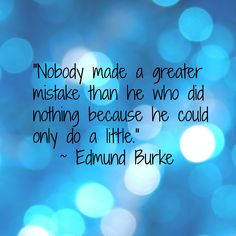 """""""Nobody made a greater mistake than he who did nothing because he could only do a little."""""""