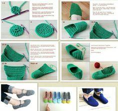 Bpantuflas - Her Crochet Diy Crochet Slippers, Crochet Slipper Pattern, Crochet Diy, Crochet Crafts, Crochet Projects, Diy Crafts, Knitting Patterns, Crochet Patterns, Graph Crochet