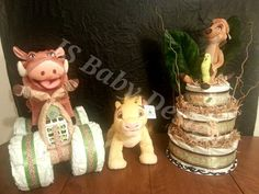 Lion King baby shower ideas (diaper cake and 4 wheeler)
