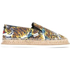 Kenzo 'Flying Tiger' espadrilles ($263) ❤ liked on Polyvore featuring shoes, sandals, black, leather espadrilles, elastic sandals, woven leather sandals, woven sandals and multi colored sandals