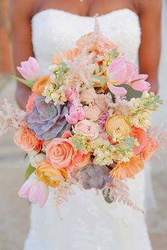 pastel spring wedding bouquet / http://www.himisspuff.com/spring-summer-wedding-bouquets/