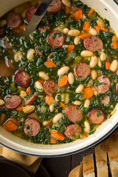 Kale White Bean and Sausage Soup - Cooking Classy This soup is so good and so easy to make, I felt like I could eat the whole pot of it. I will be making it again.