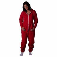 CoZone Global Unisex Hooded Jumpsuit Adult Onesie (Scarlet, Large)
