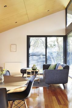 "Nic Owen Architects designed The Journey House, a modern single-level residence located in Melbourne, Australia and completed in ""This modest sized semi-detached clinker brick house in Hampto… Interior Architecture, Interior And Exterior, Interior Design, 1940s Home, Lounge Suites, Timber Flooring, Eames Chairs, Cool Chairs, Architects"