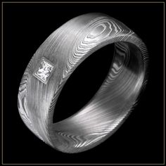 Essentials Damascus Steel Wedding Ring with Wood Grain Pattern and Flush Set Diamond