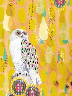 """""""Snow Owl"""" contemporary kid's wall art by Yellow Button Studio for Oopsy Daisy, Fine Art for Kids $119"""