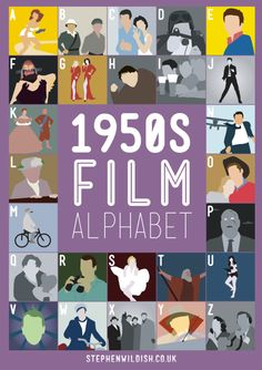 A-Attack of the 50 Foot Woman B-The Bridge on the River Kwai C- Cat on a Hot Tin Roof D- The Dam Busters E-East of Eden F-Forbidden Planet G-Gentlemen Prefer Blondes H-The Hunchback of NotreDame I-Ice Cold in Alex J-Jailhouse Rock K-The King&I L-The Ladykillers M-Mon Oncle N-North by Northwest O-Oklahoma P-Plan9FromOuterSpace Q-The Quatermass Xperiment R-Rear Window S-The Seven Year Itch T-The Ten Commandments U-Underworld Beauty V-Vertigo W-The Wild One X-The Unknown Y-Young at Heart…