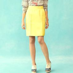 """Anthro Yellow skirt Contrasting pickstitches trace the waistband and give the illusion of deep-reaching compartments on Cartonnier's textured cotton pencil.Front pockets Back zipCotton; polyester lining Machine wash Regular: 21.5""""L- like new!!! Cartonier waist is 26"""" Anthropologie Skirts"""