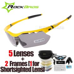 RockBros Polarized 5 Lenses Cycling Eyewear with Myopia Frame Bike Glasses Bicycle Glasses Sunglasses for Riding Sport Men Women