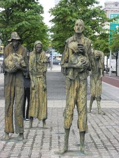 Memorial to potato famine, Dublin. When I was in Dublin I saw this and had no idea what it was and walked right past it. Love Ireland, Ireland Travel, Galway Ireland, Belfast Ireland, Ireland Vacation, Statues, Potato Famine, Statue En Bronze, Irish Famine