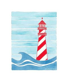 Nautical nursery art lighthouse art in red white and blue, perfect for bright…
