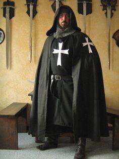 Medieval Knight Templar Hospitaller Hooded Cape Cloak w/Cross