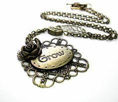 Inspirational Antiqued Brass Flower Leaf Pendant by jewelrybyNaLa,