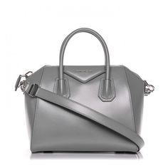 GIVENCHY Shiny Lord Calfskin Small Antigona Pearl Grey ❤ liked on Polyvore featuring bags, handbags, tote bags, gray tote, tote handbags, zipper tote, givenchy shoulder bag and grey shoulder bag