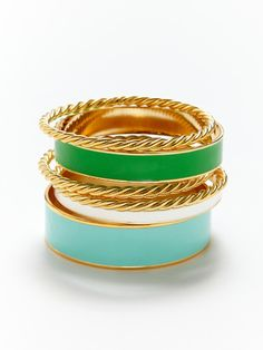KEP bangle set in opal, kelley green, and white
