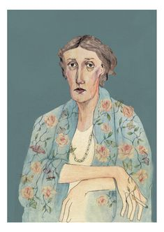 Large Virginia Woolf Portrait Limited Edition A3 Giclee Print by Bett Norris.. £40.00, via Etsy.