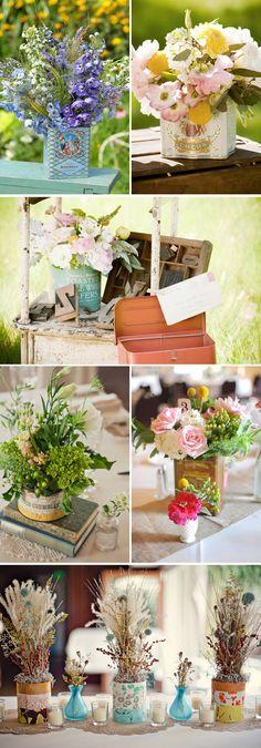 Decoración para bodas con flores en latas vintage