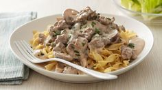This classic comfort food gets an easy makeover in this version made with ground beef, mushrooms, peppery cream sauce and noodles.