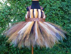 "Girls Tutu Dress - Birthday Tutu - Jungle Fairy Tutu - Halloween Costume - Leopard Sewn Pixie Dress - sizes 18-24 months, up to 20"" long. $65.00, via Etsy."