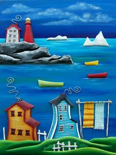 "Newfoundland ~ ""Wash Day by the Bay"" - The Grumpy Goat Gallery Newfoundland Canada, Newfoundland And Labrador, Arte Country, Naive Art, Aboriginal Art, Tole Painting, Sculpture, Whimsical Art, Beach Art"