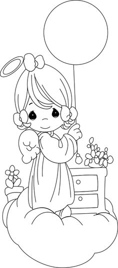 precious moments angel girl with balloon - Colouring Book For Kids