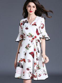 Pastoral print bowknot ruffle sleeve casual dress vestidos п Stylish Dresses, Simple Dresses, Day Dresses, Dress Outfits, Casual Dresses, Fashion Dresses, Simple Dress Casual, Midi Dresses, Prom Dresses